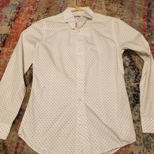 Express White and Gray Polka Dot Dress Shirt